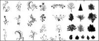 Black and white leaves Vector