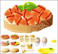Rich and delicious food) (vector material
