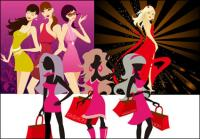 3 kinds of fashionable women vector of material