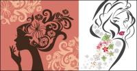 Flower Vector Women in Profile
