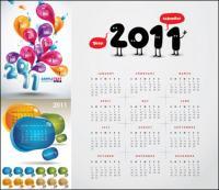 3 beautiful 2011 Calendar Vector