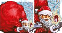 Vector Father Christmas gifts