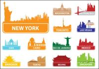 World famous silhouette of city building 02 - Vector