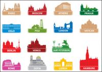 World famous silhouette of city building 01 - Vector