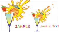 Glass and fruit juices high cartoon 04 - Vector