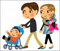 Cartoon family of three - Vector