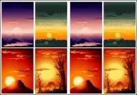 Vector beautiful sunset scenery
