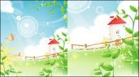 Summer scenery Vector Vine