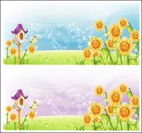 Sunflower scenery Vector