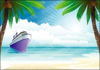 Cruise on the ocean vector