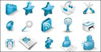 Icon - a very beautiful blue three-dimensional icon vector material
