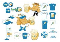 Beer and beer glasses vector