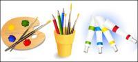 Palette, brushes, color pencils, paint vector