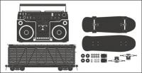 Radio - container - skateboard vector material