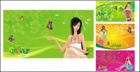 Supermarket shopping women vector tag material