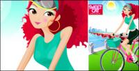 Fashion girl vector material cycling