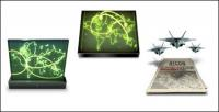 Maps, mac, satellites, aircraft carriers, fighter planes, tanks