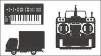 Trucks, video recorders, organ vector material