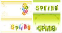 spring three-dimensional character alphabet pattern vector