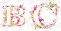 Flowers alphabet vector