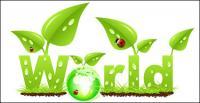 Vector ladybug leaves the grass grow green earth