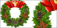 Christmas garlands, leaves