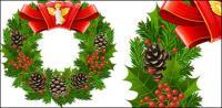 Christmas garlands, leaves