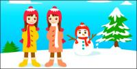 Snowman and the little girl vector