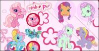 horse Pegasus cute cartoon flowers