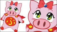 Flying girl pig vector