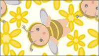Continuous background of the flowers bees vector