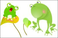 Frogs, leaves Vector