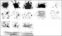 Series of black and white design elements vector material -6 (ink blot)