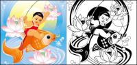 Paintings, lotus, fish, goldfish vector