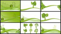 Wind power, reduce emissions, trees, hillsides vector material