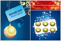 Label, hanging balls, bells, fireworks vector