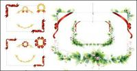 Borders, ribbons, medals, green leaf material