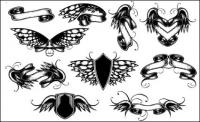 Wings, ribbons, butterfly vector material