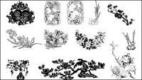 Plum, pomegranates, Magnolia vector