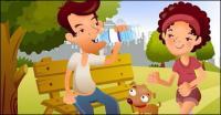 iClickart Cartoon Family illustrator vector material -10