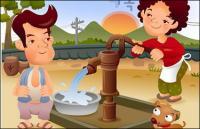 iClickart Cartoon Family illustrator vector material -3