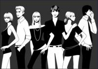 Black and white photographs of men and women vector