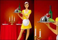 Foreign waiters vector material