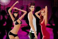 Dancing men and women fashion related material vector