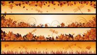 Autumn, dragonflies, leaves Vector
