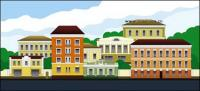 Vector cartoon town scenery