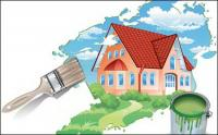 Painting A new House Vector Material