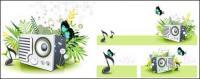 Music Speaker butterfly Dandelion Green Spring Vector Material