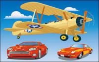 Vehicle Vector Material��Propeller-driven aircraft and sport car