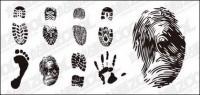 Footprints, fingerprints and palm vector material